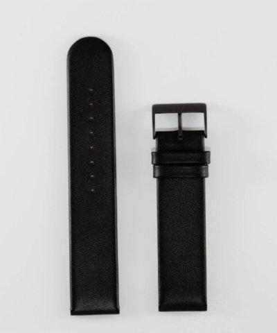 20mm Black Leather, Black Buckle