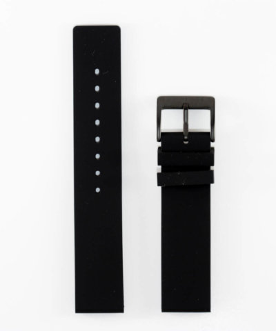 20mm Black Silicone Band Black Buckle